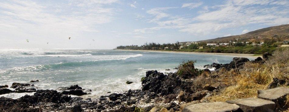 Kitesurf sur la plage de 3 Bassins, La Réunion